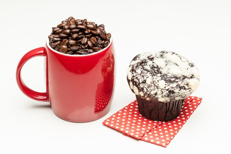 Red coffee cup with muffin photo