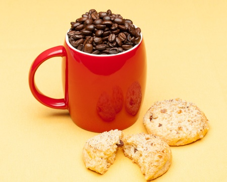 Red coffee cup with cookie photo