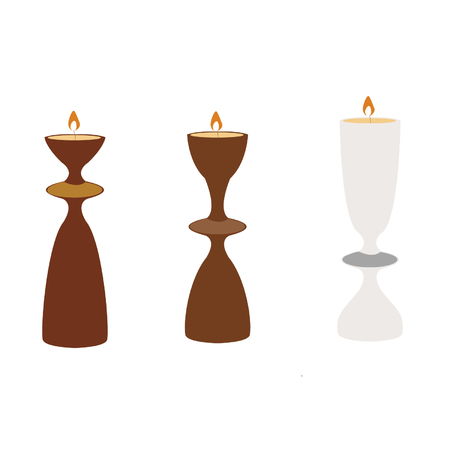 Different shape of candle holder on white background
