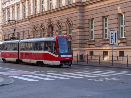 This is a tram in Brno street. Stockfoto