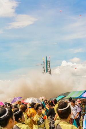 traditonal: Traditonal Thai Rocket Launch Festival launch on a sky background