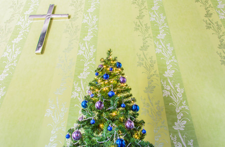 tinsel: Christmas tree decorate with tinsel and balls Stock Photo