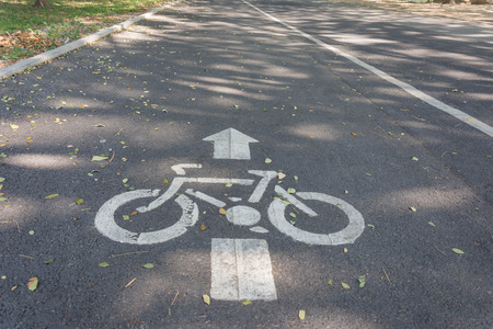 Bicycle lane road sign painted on the asphalt road with falling leaves under shadow of tree in a small park in autumn photo