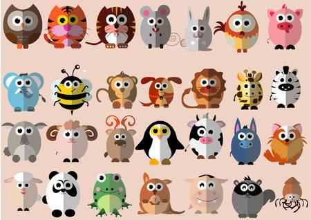 귀여운 만화 평면 디자인에서 동물의 많은 종류 일러스트