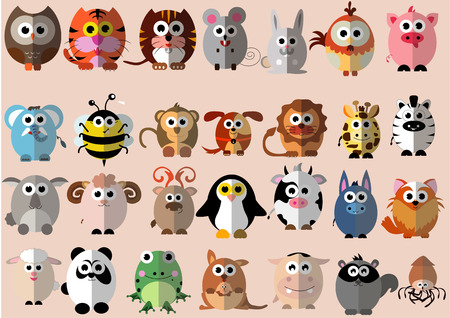 monkey face: Many kind of animal in Cute cartoon flat design