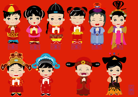 Cute cartoon flat design of Chinese in many costume congratulation Happy Chinese