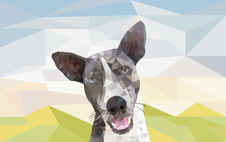 esp cards: low poly design of smilling dog