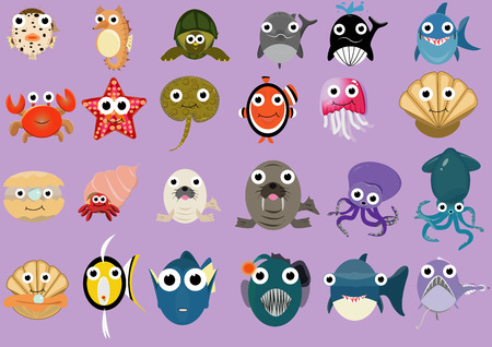 many kind of sea animals in flat design