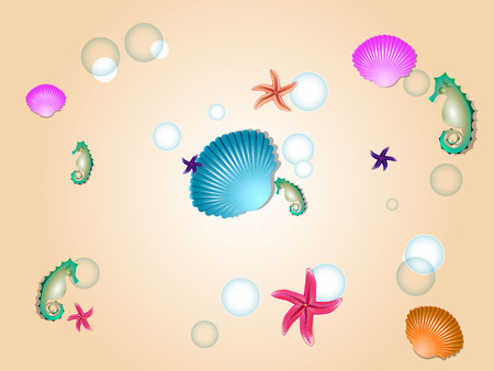 sand background: sea horse, star fish and shell with sand background