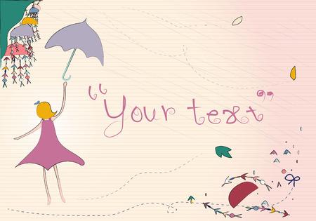 essayer: Une femme essayer d'attraper le parapluie volant sous la pluie et de la poudrerie