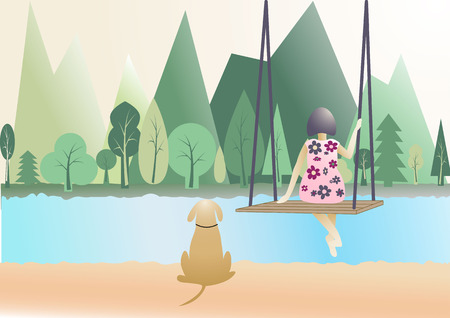 mountain view: woman sitting on swing and dog sitting with mountain view behind in flat design Illustration