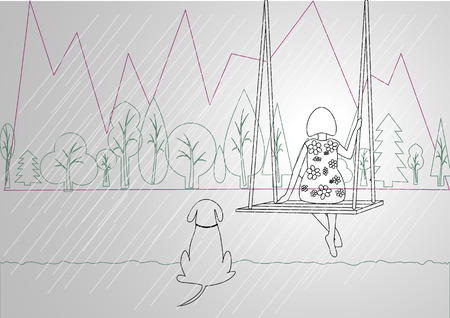 mountain view: flat design of woman sitting on swing and dog sitting on ground with mountain view behind in in rainning