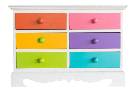 colorful of accessories cabinet with drawer isolated on white background Stok Fotoğraf