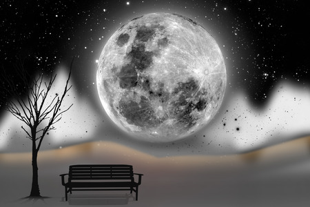 lonelyness: lonely empty bench with silhouette moon background.  Stock Photo