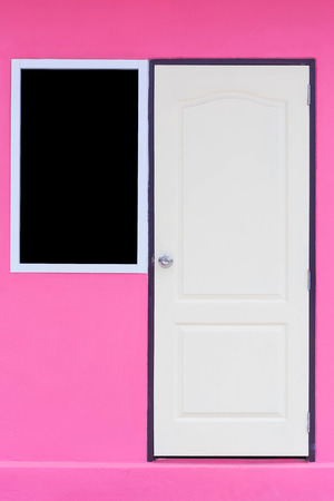 windows and doors: doors and windows on pink wall
