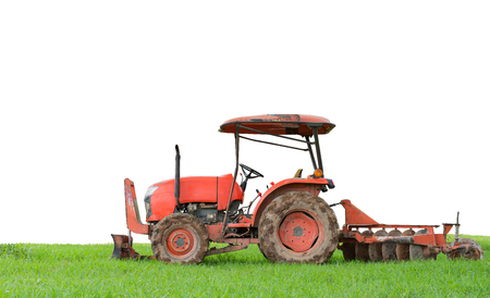 tillage: tractor tilling in field on white background Stock Photo