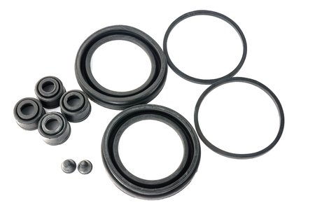 rubber gasket: hydraulic rubber seal and oring on white background