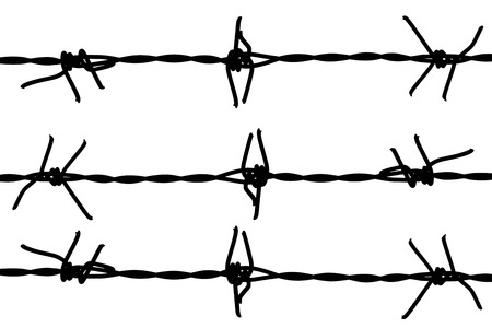 barbed wire frame: silhouette of barb wire fence isolated on white background