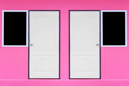 windows and doors: doors and windows on pink wall