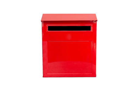 metal mailbox: red mail box isolated on white background