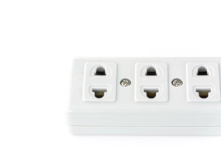 unplugging: plug on white background Stock Photo