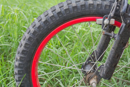 mountain bicycling: wheel of old bicycle on green grass background
