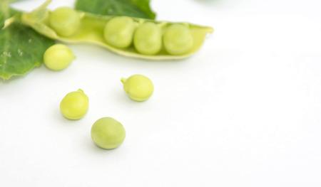 legume: green peas on white background