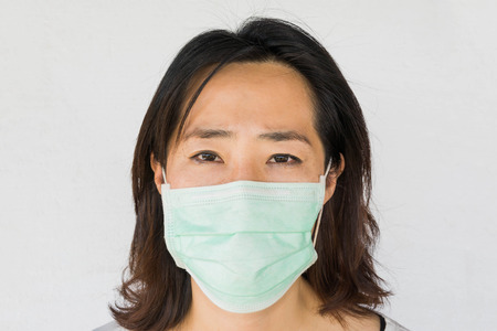 woman with Face mask on white background