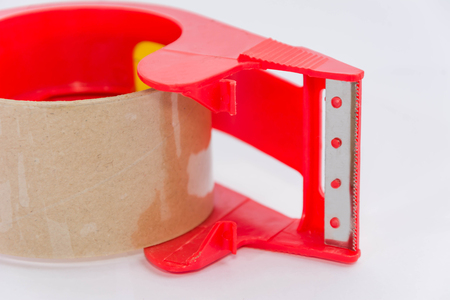 sellotape: Scotch Transparent Tape and holder on white background