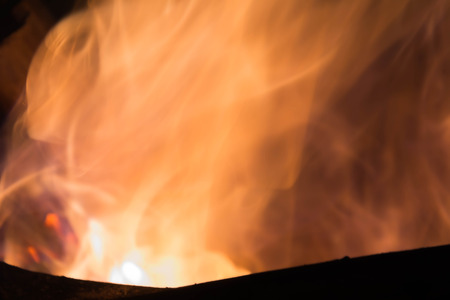 gas fireplace: Blazing fire and flames on dry bamboo