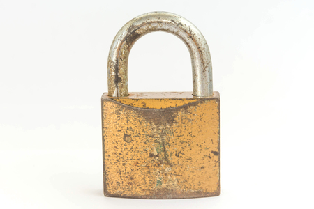 locked: A padlock locked on white Stock Photo