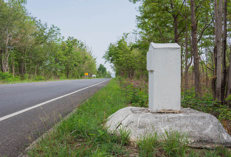 Thailand milestone marked on road side Stock Photo