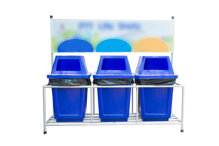 dumpster: blue Garbage Trash Bin isolated on white background