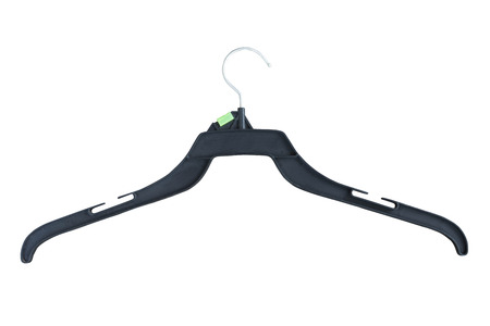 clothes plastic hanger isolated on white background Stock Photo