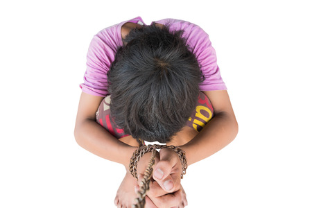 photo of children hand tied, imprison, retarded, Child Abuse isolated on white