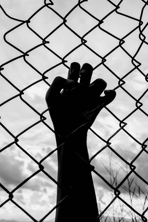 imprisoned: silhouette of the boy holding the cage , imprisoned, retarded, Child Abuse in white tone