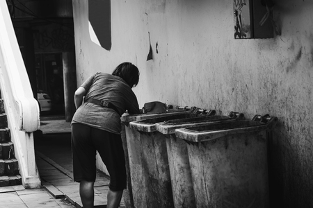 decompose: soft focus of trash keeper by road side in white tone