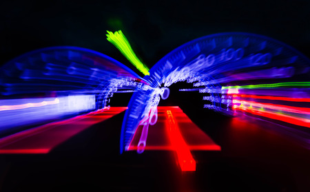 abstract motion blur of light with cars Speedometer illuminated