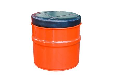 oil drum: oil drum stool isolated on white Stock Photo