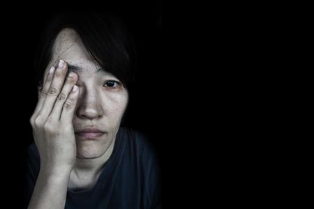 depress woman with tear on black Stock fotó