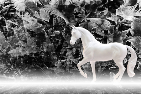 moulding: Statuette of white horse isolated on zinc sheet background with mist, fairy tale concept
