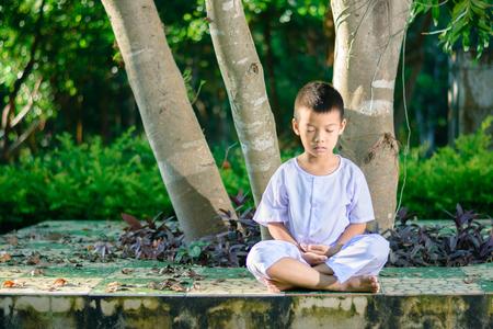 白い服を着た子供は、心の中で平和を念頭に置いて大きな木の下に座って瞑想を練習する