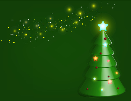 Chocolate of Christmas tree flooding on green background. Illustration