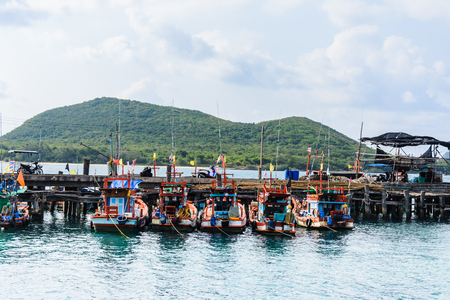 many kinds and size of boat parking on port, Gulf of Thailand