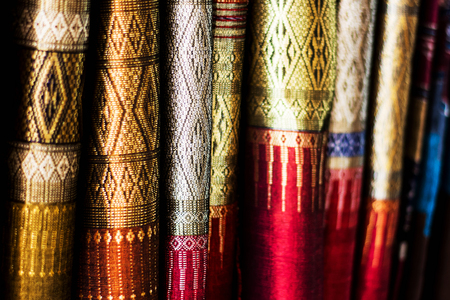Blurry of Beautiful Thai silk pattern background, shallow depth of field Imagens