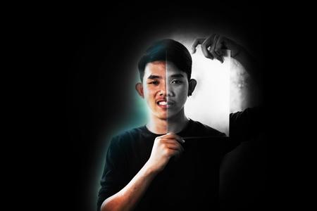 Boy with 2 face, Happy and Depress, Emotion concept Archivio Fotografico