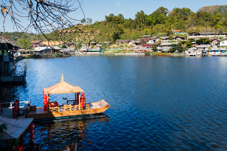 Boat floating at the Lee wine ruk thai lake ,Beautiful scenery Chinese village, Mae Hong Son in Thailand 写真素材