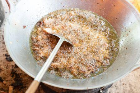 Fried lard oil homemade. Making Lard oil for cooking.