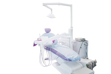 Modern dental practice. Dental chair and other accessories used by dentists