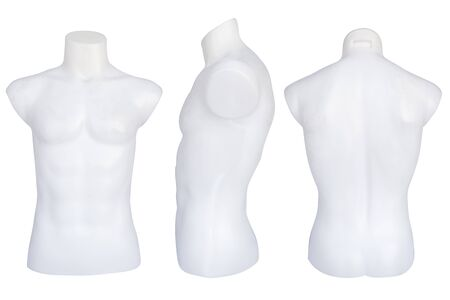 mannequins dressed in T-shirt Isolated on white background. No brand names